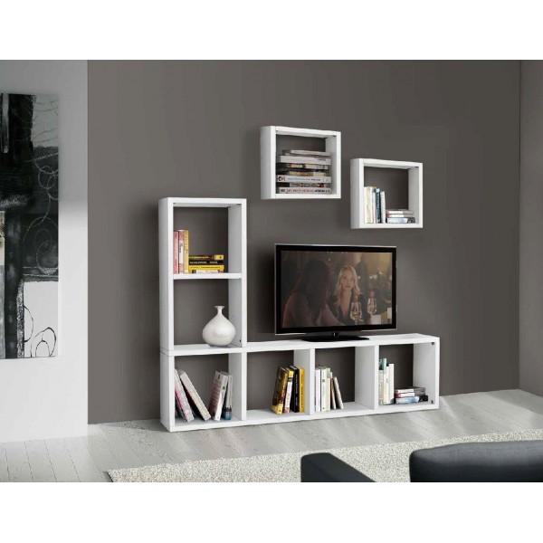 Porta tv   parete attrezzata bianco frassinato tranchÈ ...